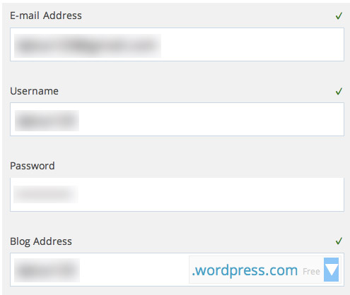 Get started with WordPress.com by filling out this simple form