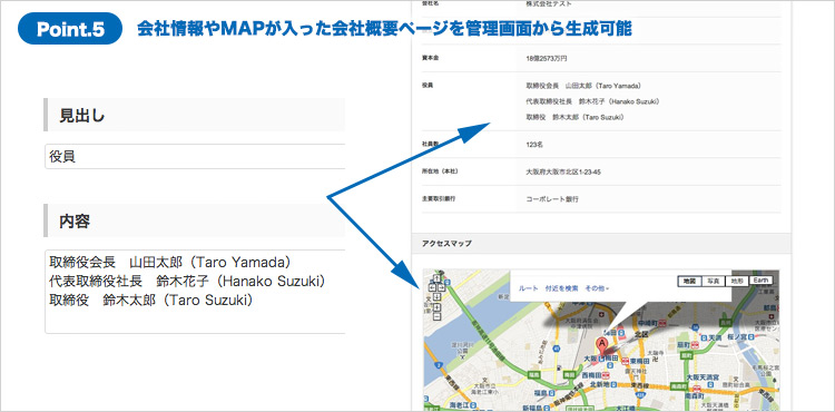 【地図付】「会社情報ページ」の生成機能を実装 簡単にかっこいい会社概要が作成できる