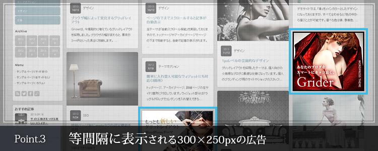 等間隔に表示される300x250pxの広告