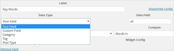 「WP Custom Fields Search」のデータタイプ