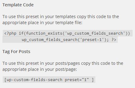 「WP Custom Fields Search」のコード