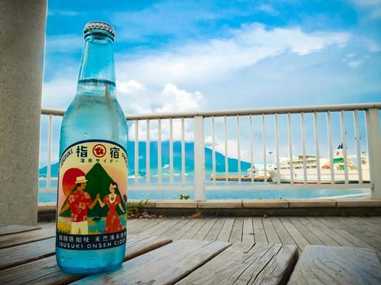 鹿児島港で飲むサイダー